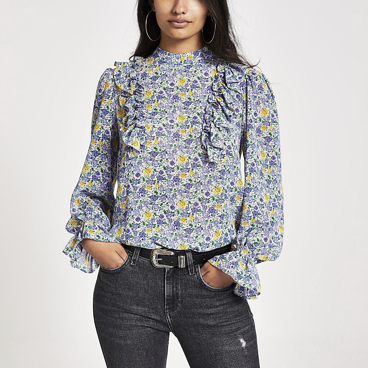 Blauwe top met bloemenprint en ruches