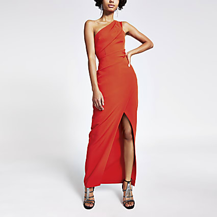 Red one shoulder wrap bodycon maxi dress
