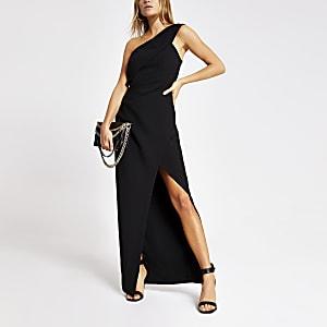 Robe longue moulante asymétrique noire