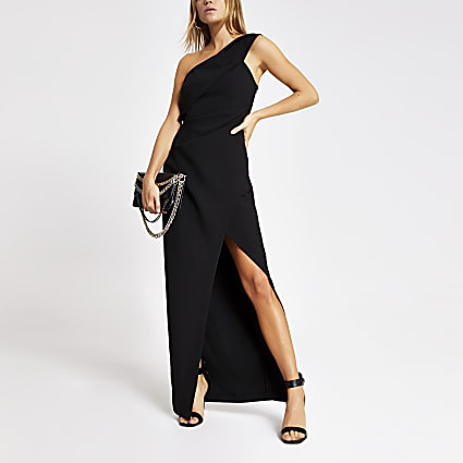 Black one shoulder bodycon maxi dress