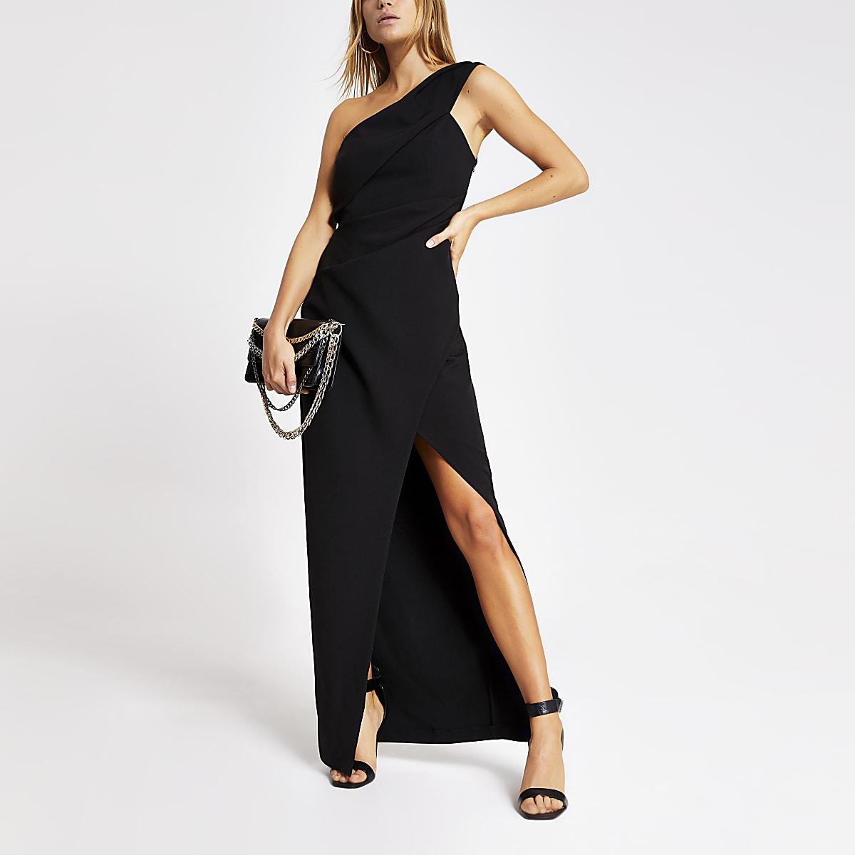 Black one shoulder bodycon maxi dress