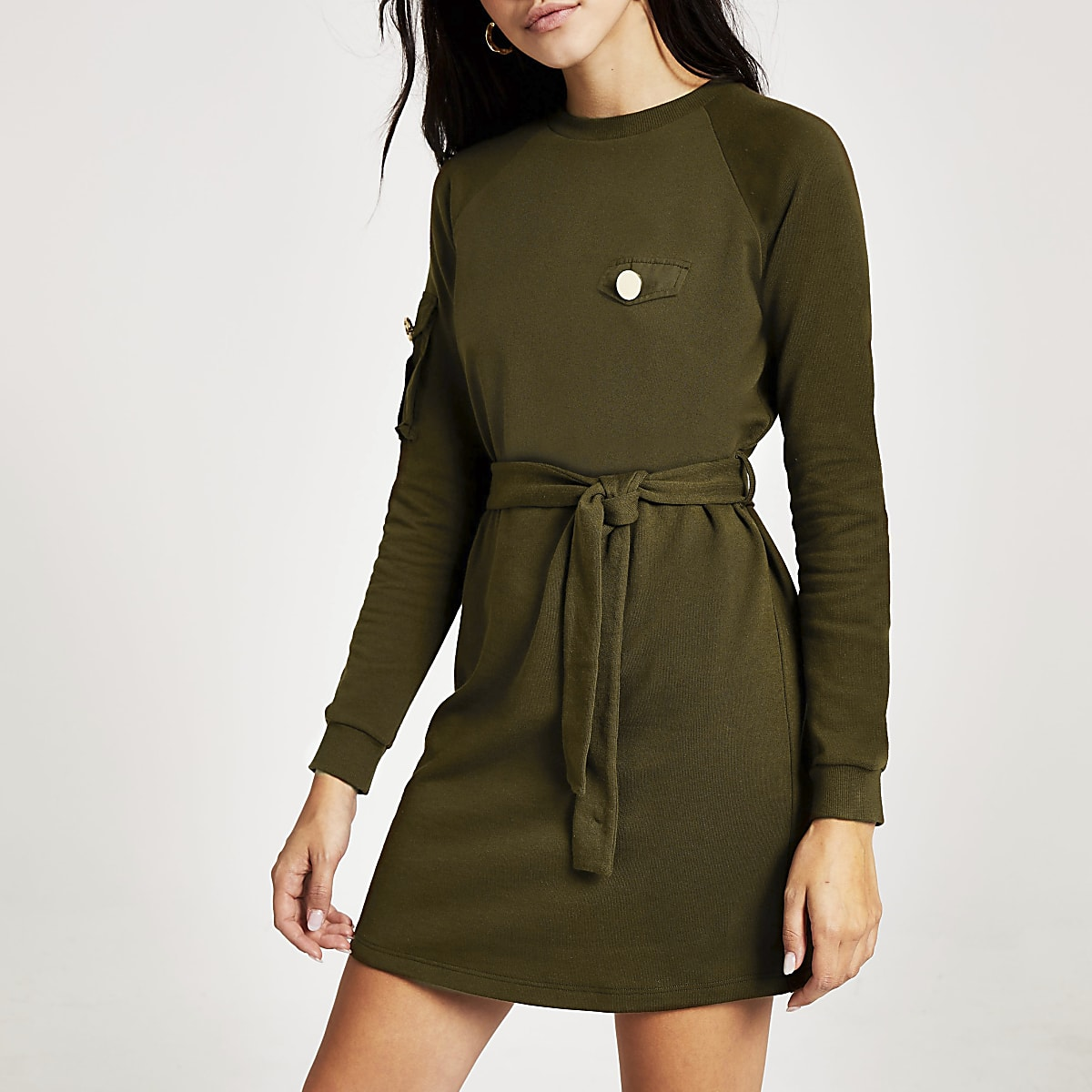 Khaki tie waist utility sweatshirt dress