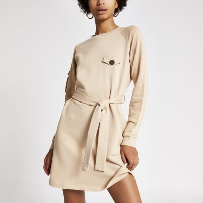 Beige tie waist utility sweatshirt dress