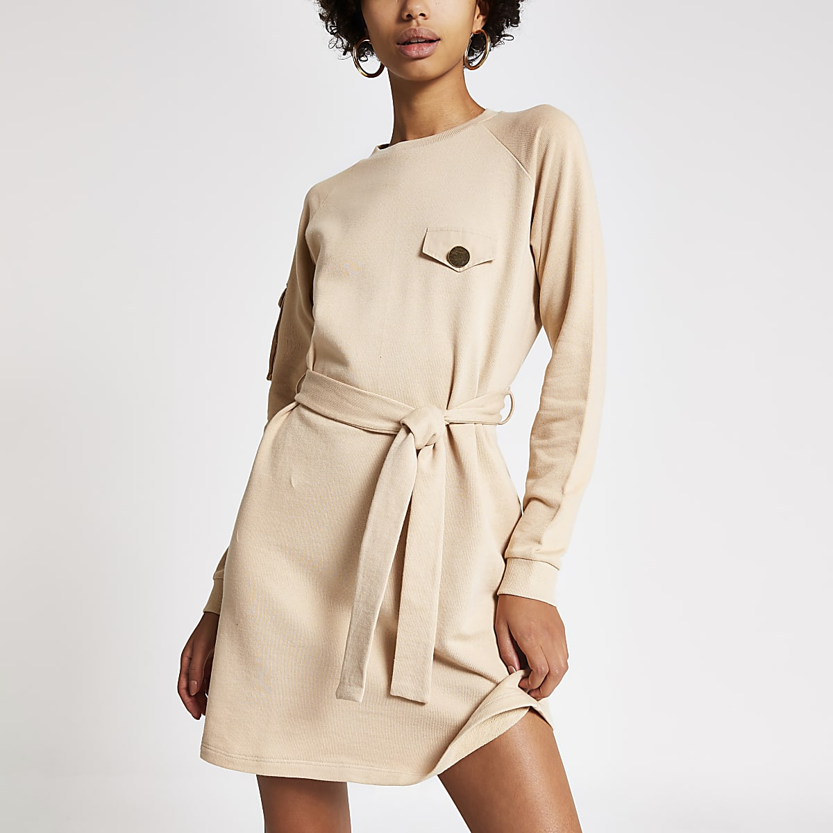 Beige tie waist utility sweatshirt dress
