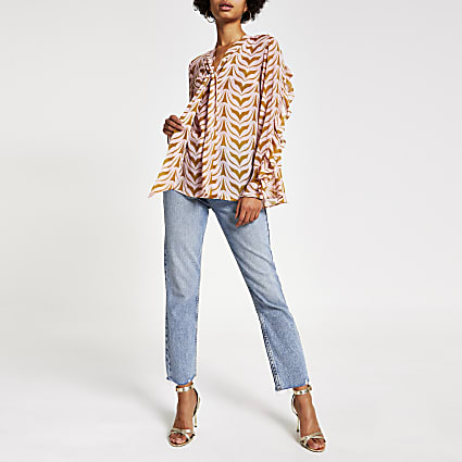 Pink print tie neck blouse