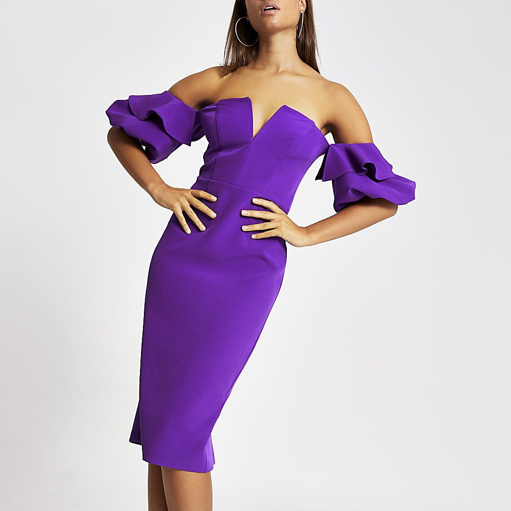 Robe Bardot mi-longue moulante violette