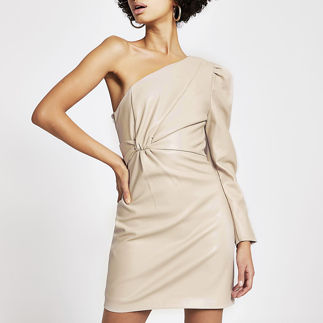 Beige faux leather one shoulder mini dress