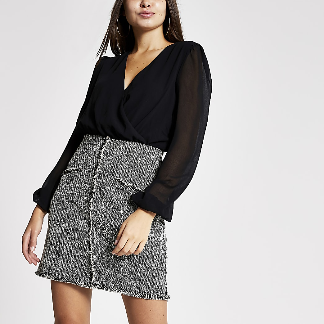 Black boucle 2-in-1 long sleeve dress