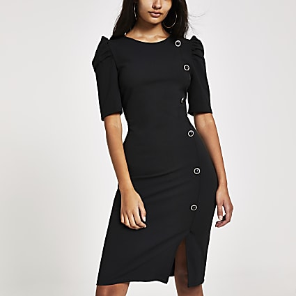 Black button front puff sleeve midi dress