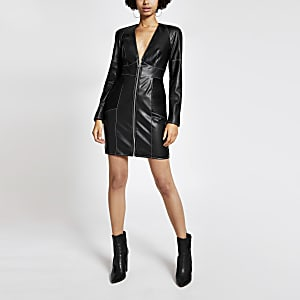Black faux leather contrast stitch mini dress