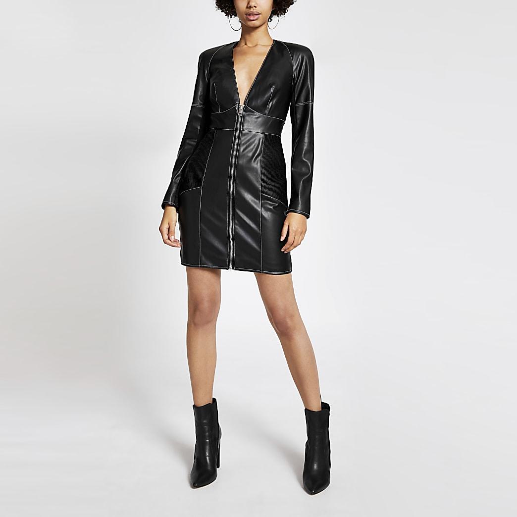 Black faux leather contrast stitch mini dress
