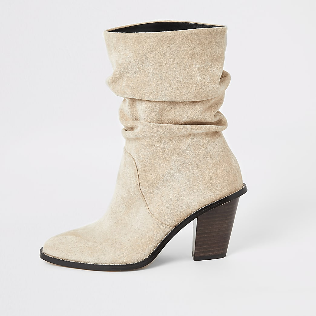 Beige faux suede slouch heeled boot