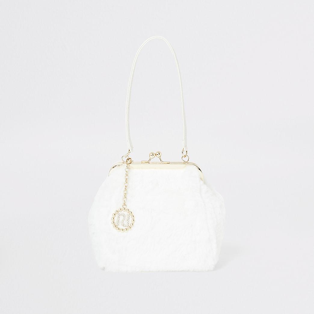 Cream faux fur cliptop bag