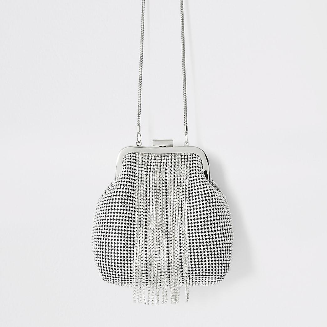 Strass-Tasche in Silber mit Quasten