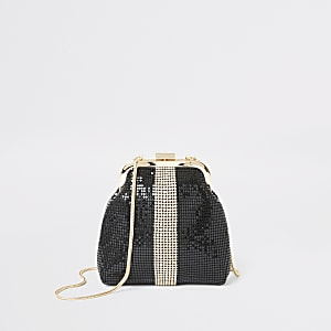 Sac à fermoir clip en cotte de maille noire avec strass colour block