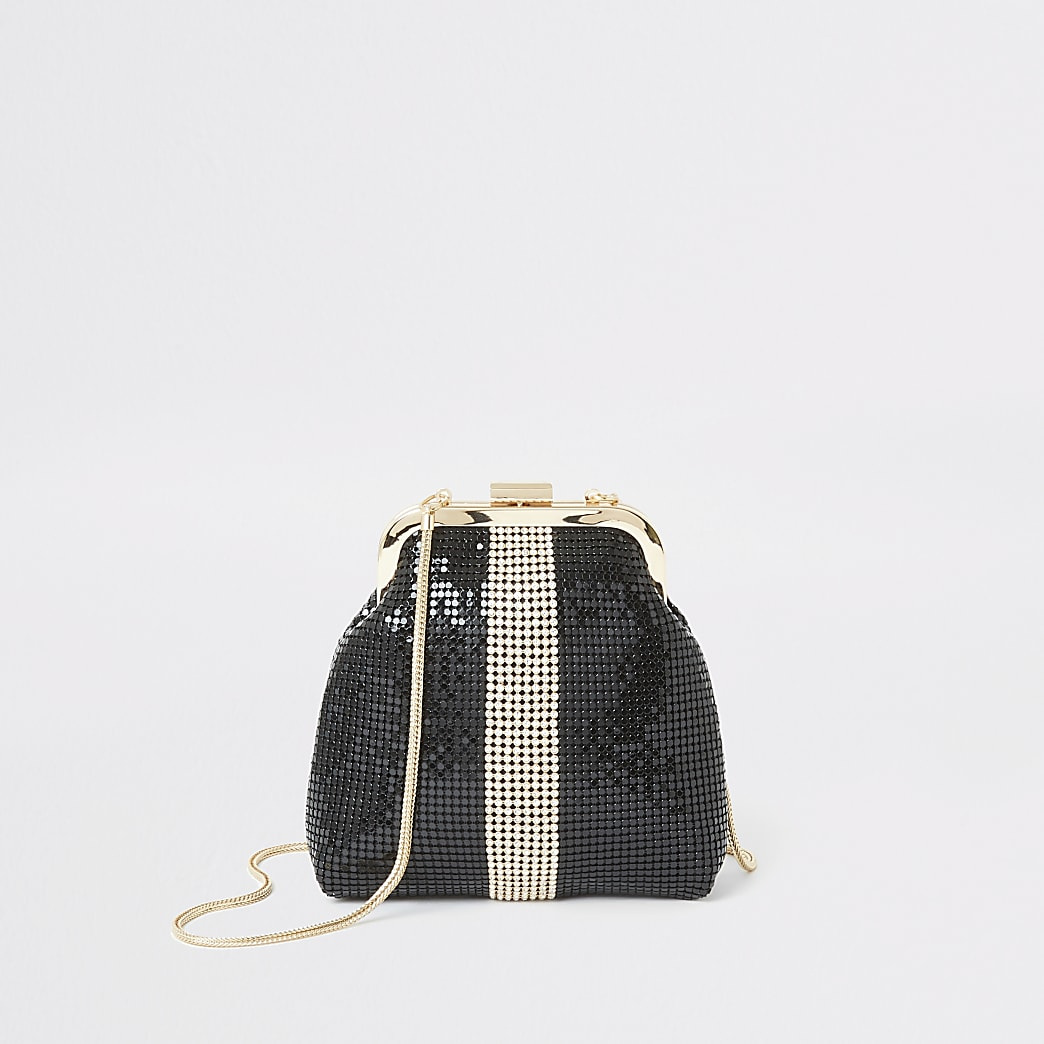Black diamante block chainmail cliptop bag
