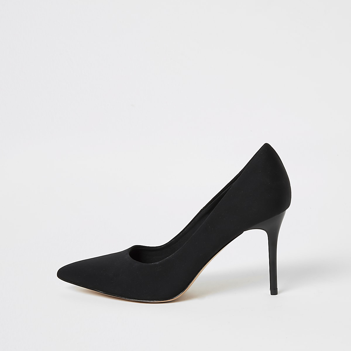 Black skinny heel scuba court shoe