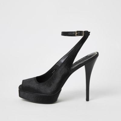 Black velvet sling back platform sandals