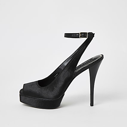 Black satin sling back platform sandals