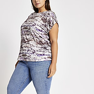 RI Plus paars tie-dye T-shirt met boothals