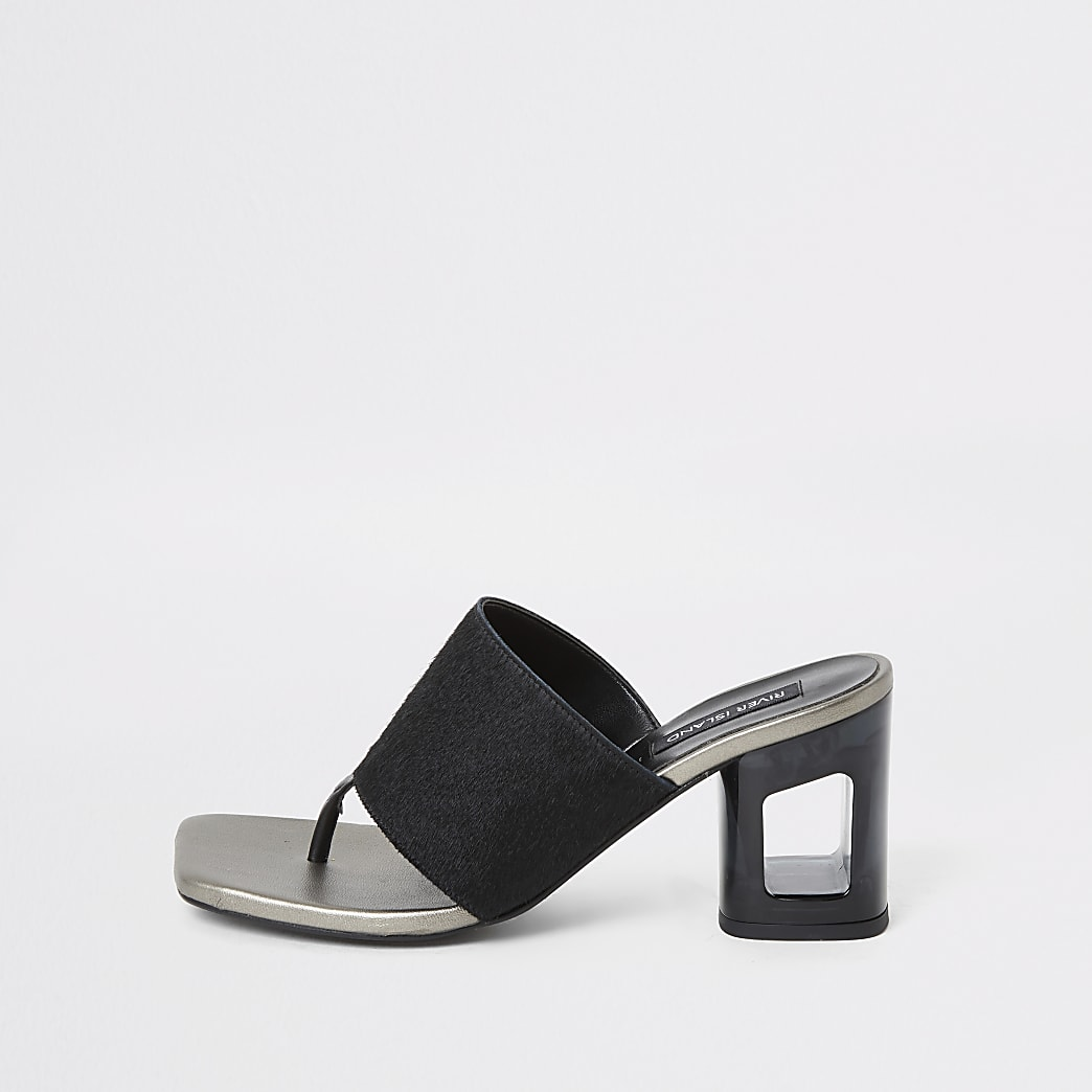 Black leather toe thong mule heeled sandals