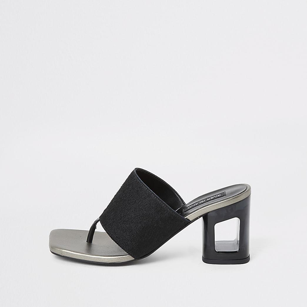 Sandales mules noires en cuir avec talons