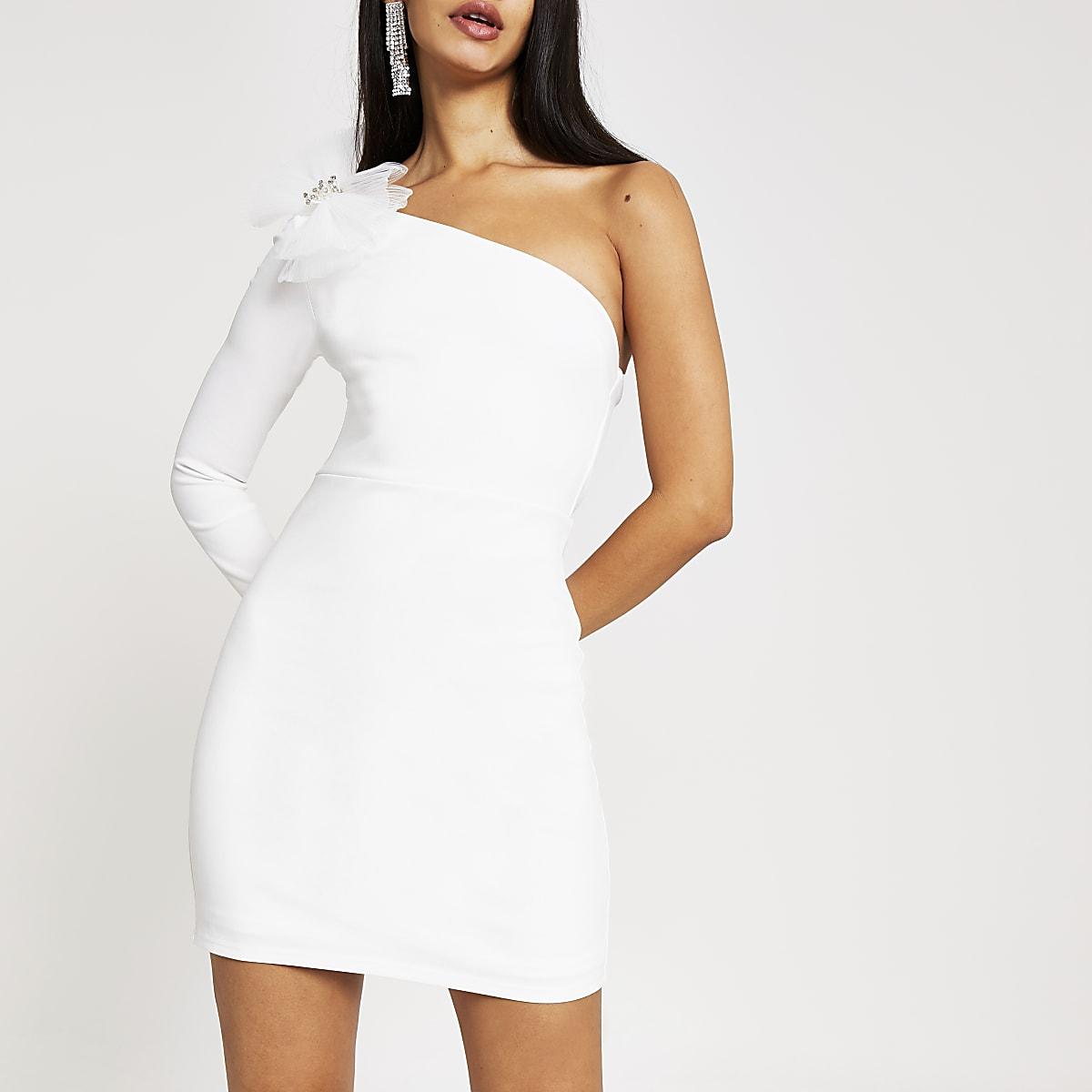 Witte bodycon mini-jurk met een mouw en strik