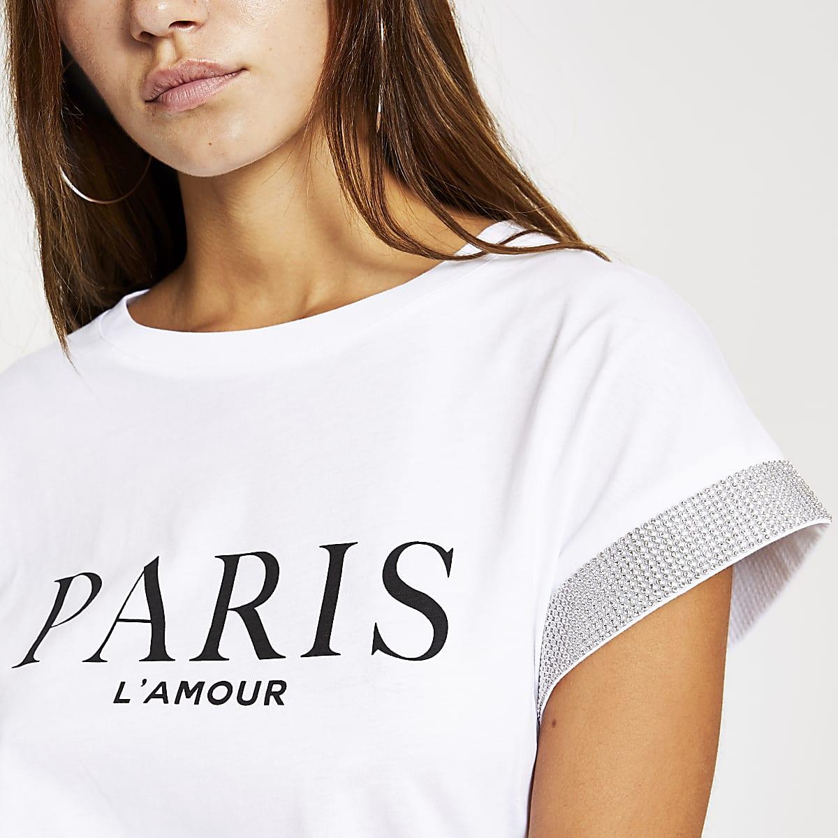 RI Petite - Wit T-shirt met print en verfraaide bies