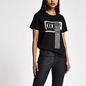 Petite - T-shirt noir « Couture» à strass