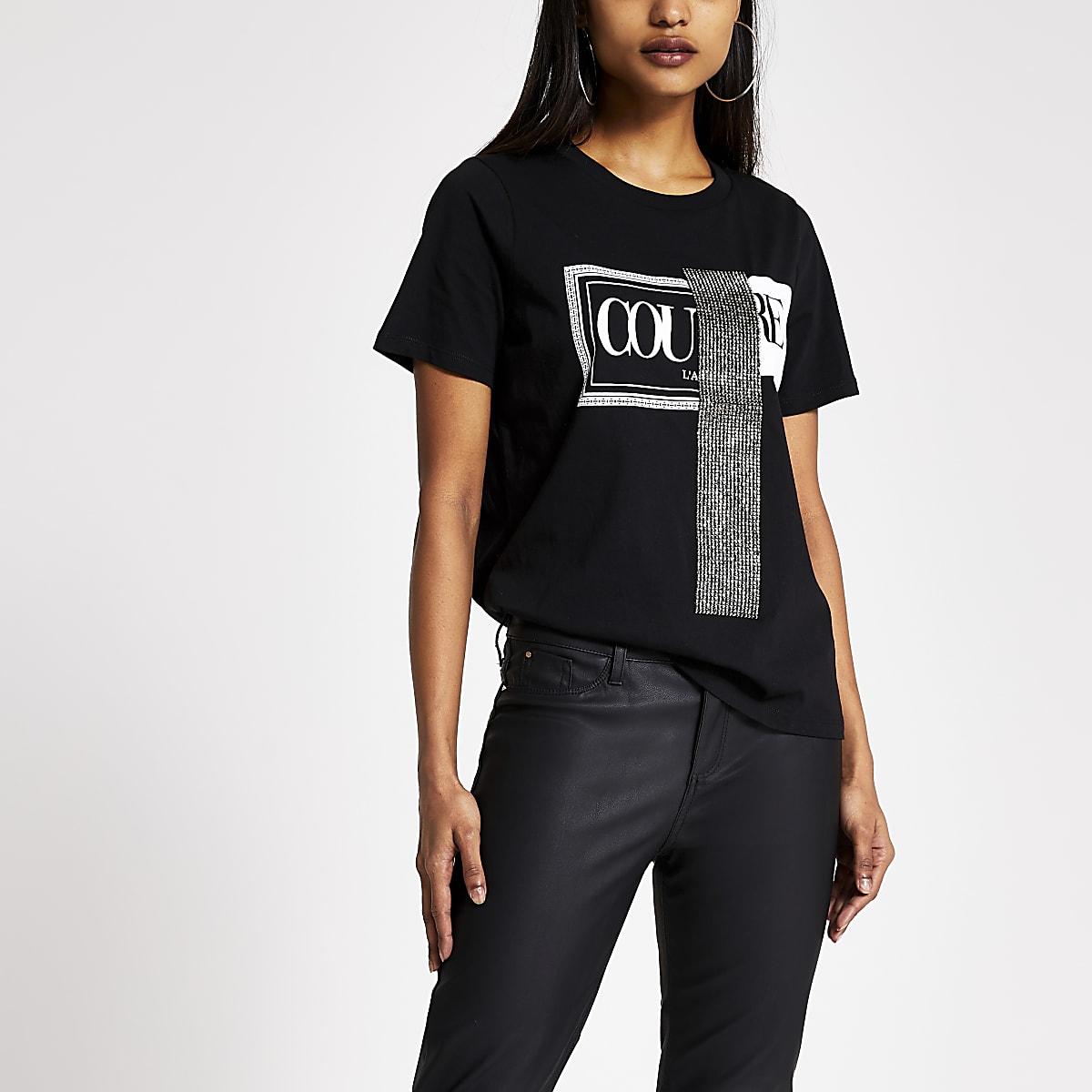 Petite black 'Couture' diamante T-shirt
