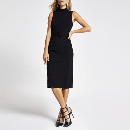 Black high neck belted midi bodycon dress