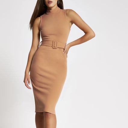 Beige high neck belted bodycon midi dress