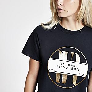 Petite black 'Toujours' foil print T-shirt
