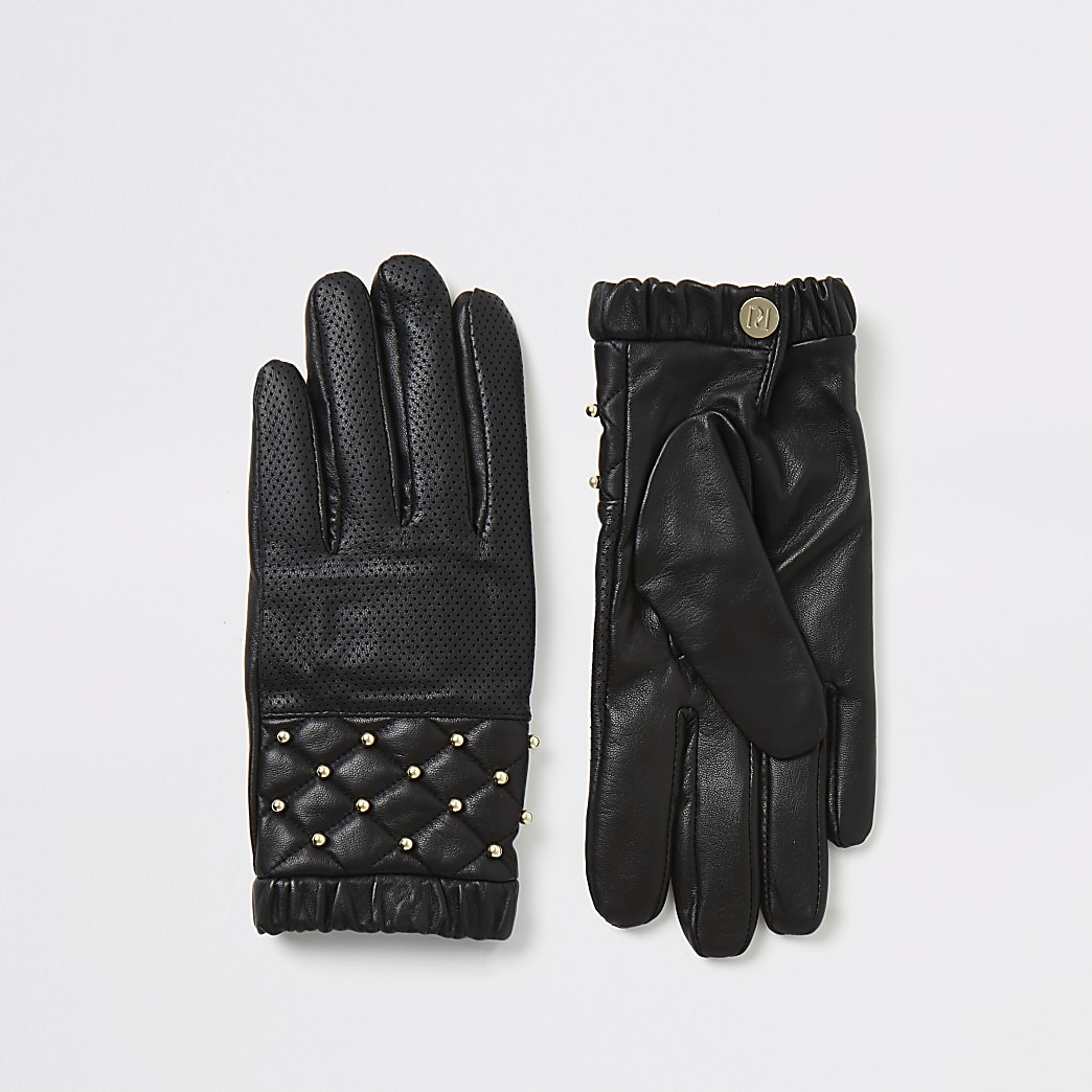 Black leather perforated stud boxed gloves