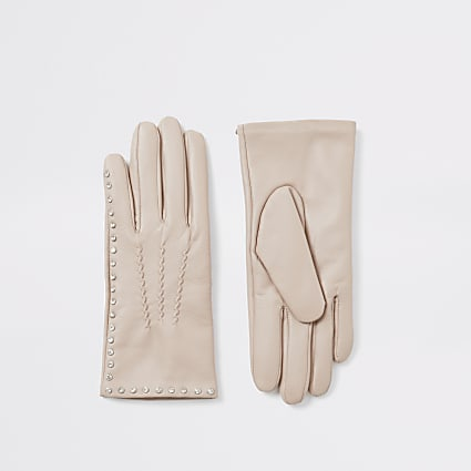Beige leather diamante embellished gloves