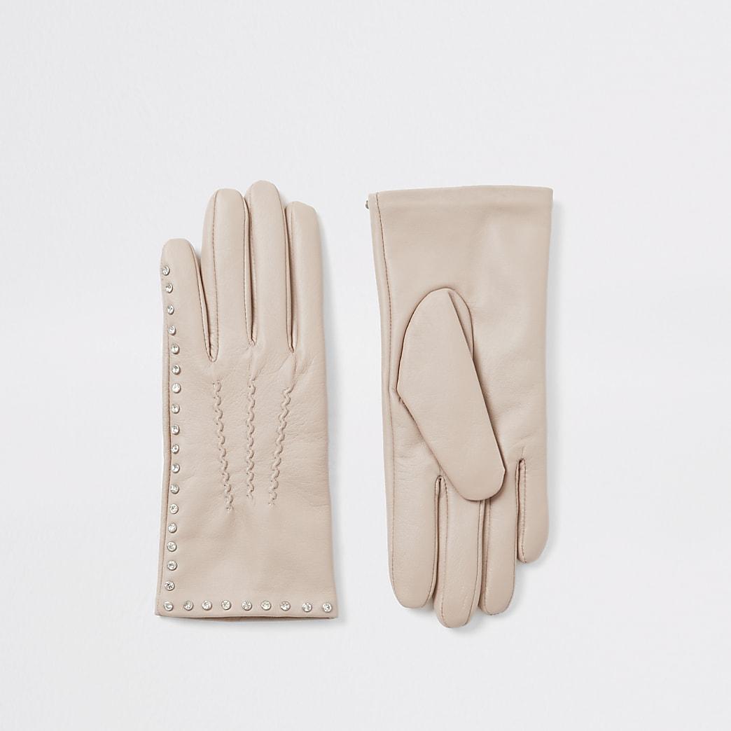 Beige leather diamante embellished gloves