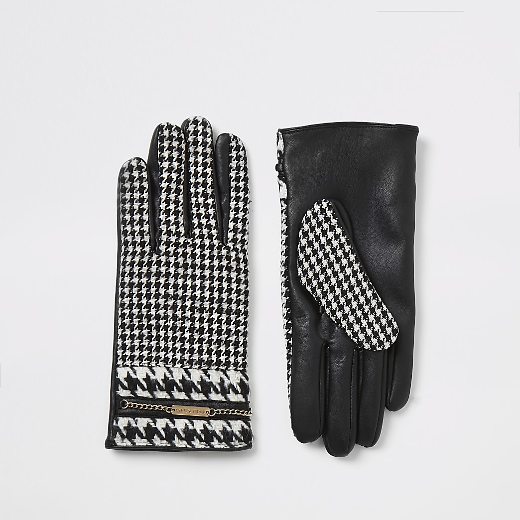 Black dogtooth check chain embellished gloves