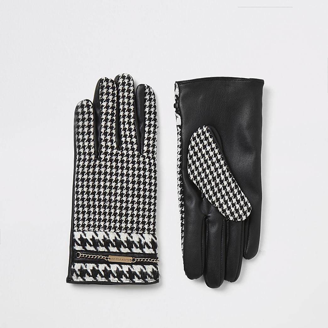Gants noirs pied-de-poule ornés d'une chaîne