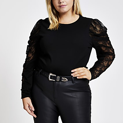Plus black long sheer puff sleeve T-shirt