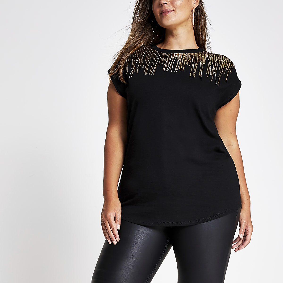 Plus black embellished neck T-shirt