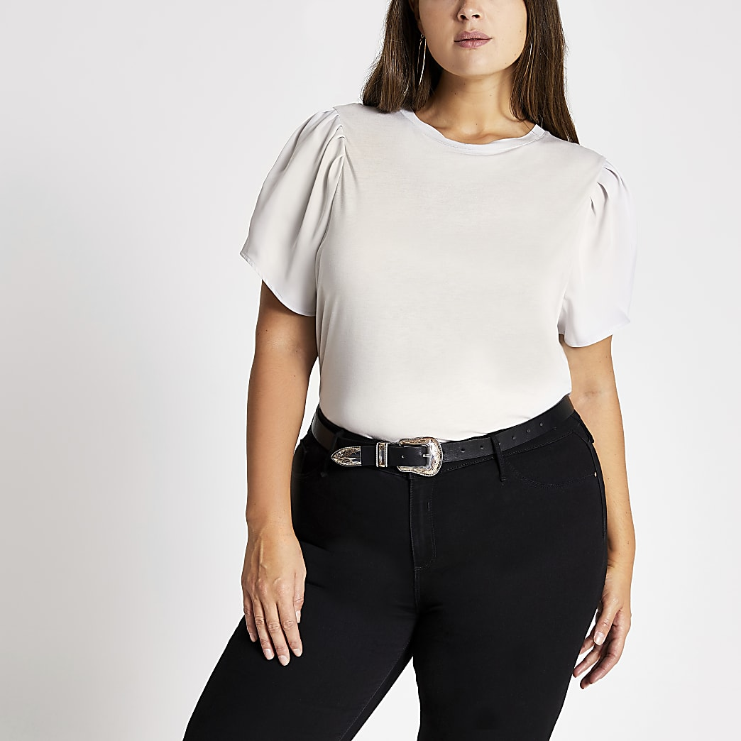 Plus grey puff satin sleeve T-shirt