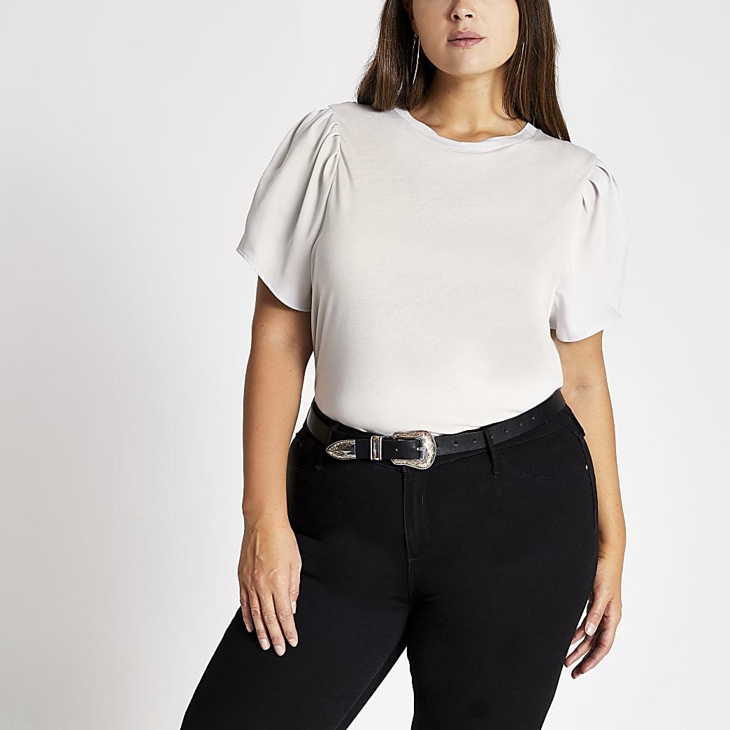 RI Plus - Satijnen pofmouwen T-shirt