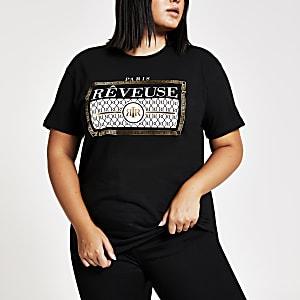 Plus – Schwarzes, bedrucktes T-Shirt