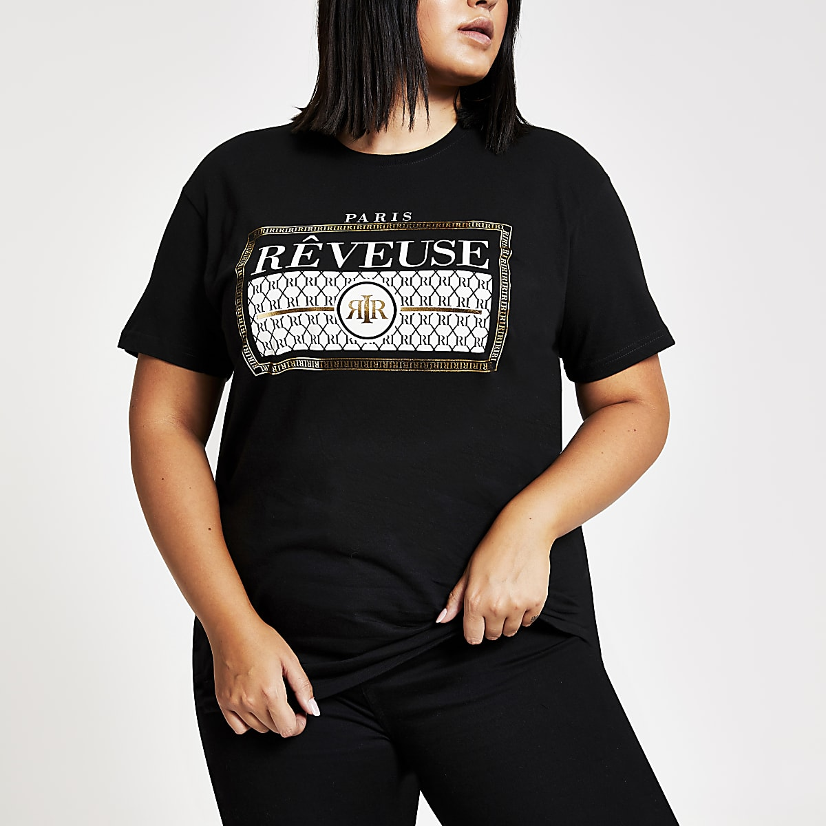 Plus black 'Reveuse' print T-shirt