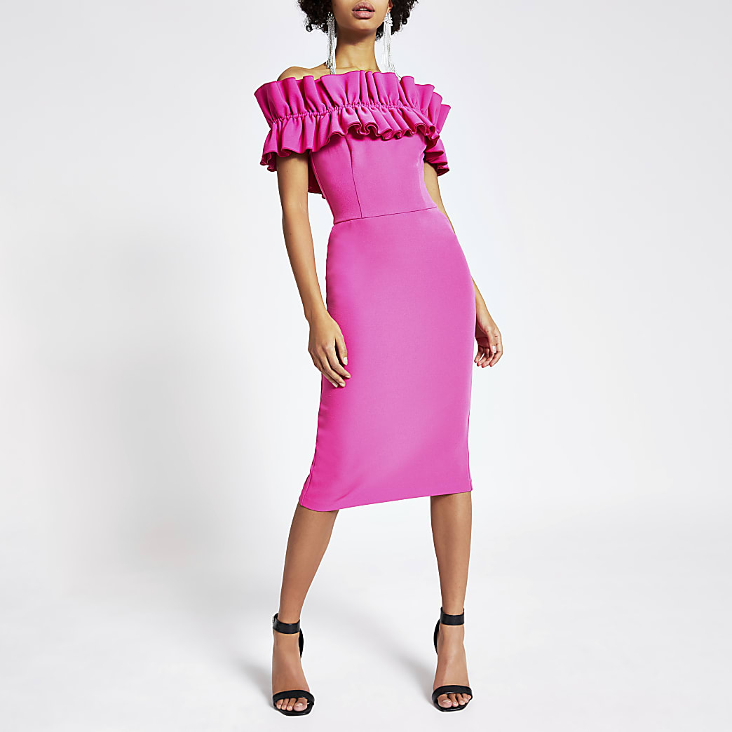 Pink ruffle bardot midi bodycon dress