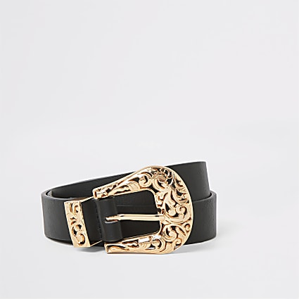 Black rose gold western buckle belt