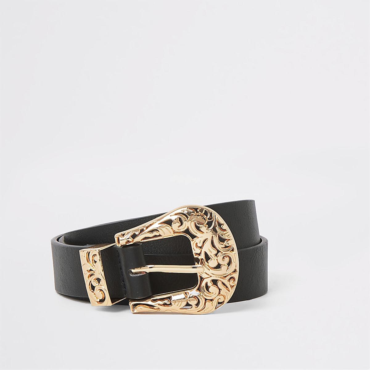 Black rose gold western buckle belt