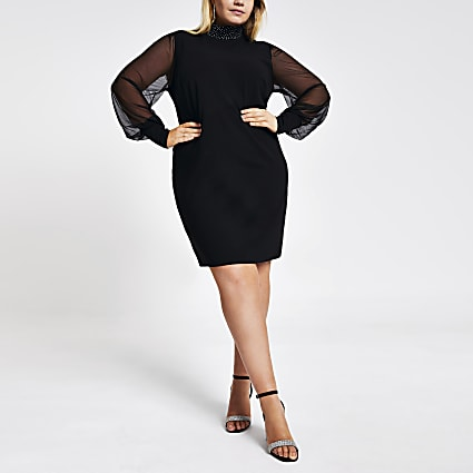Plus black long mesh sleeve midi dress