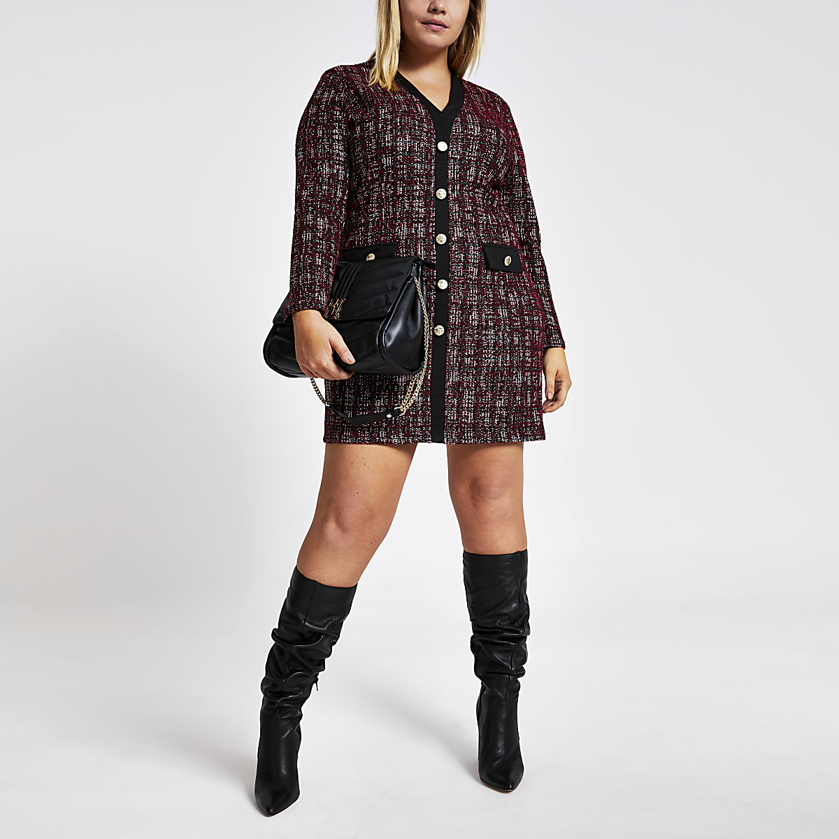 Plus red check boucle cardigan dress