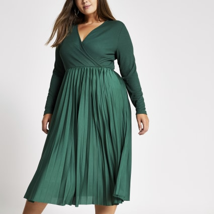 Plus dark green wrap pleated midi dress